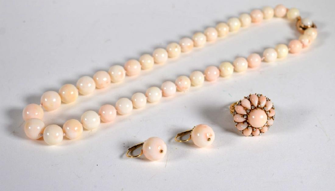 Set Angel Skin Coral Bead Necklace, Earrings, Ring