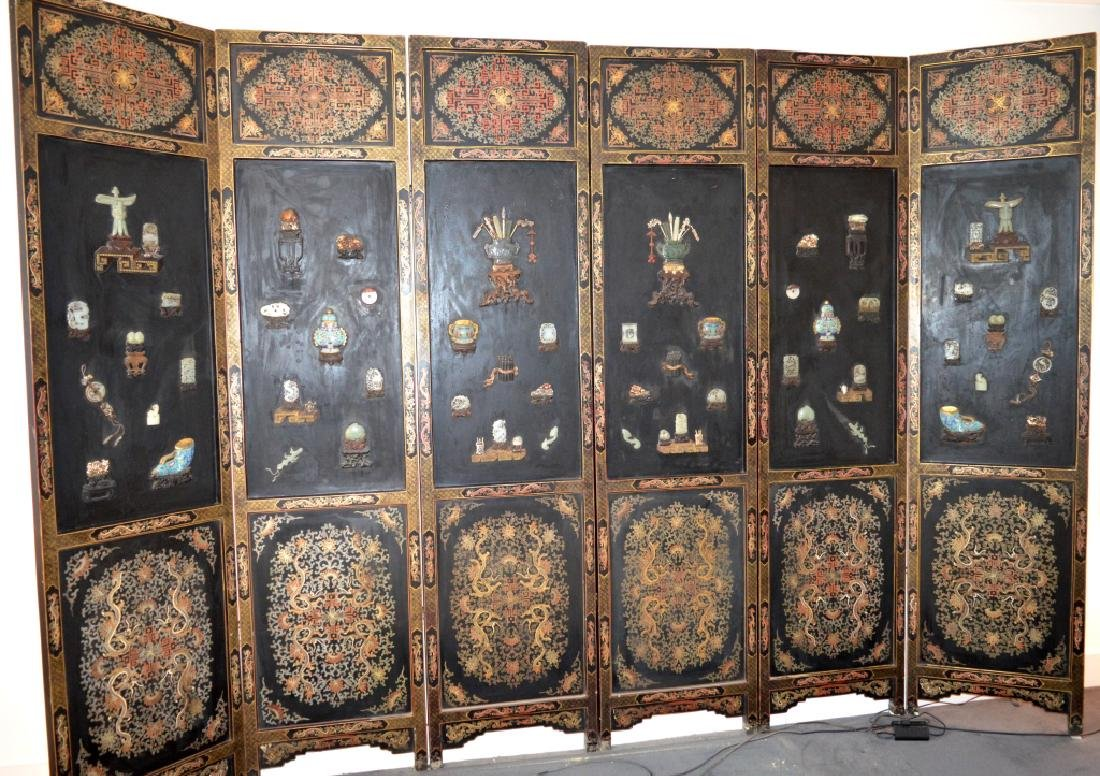 Important Lg 6 Panel Chinese Lacquer & Gem Screen