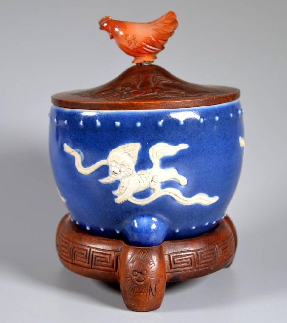 Chinese Late Ming Blue Glazed Porcelain Censer