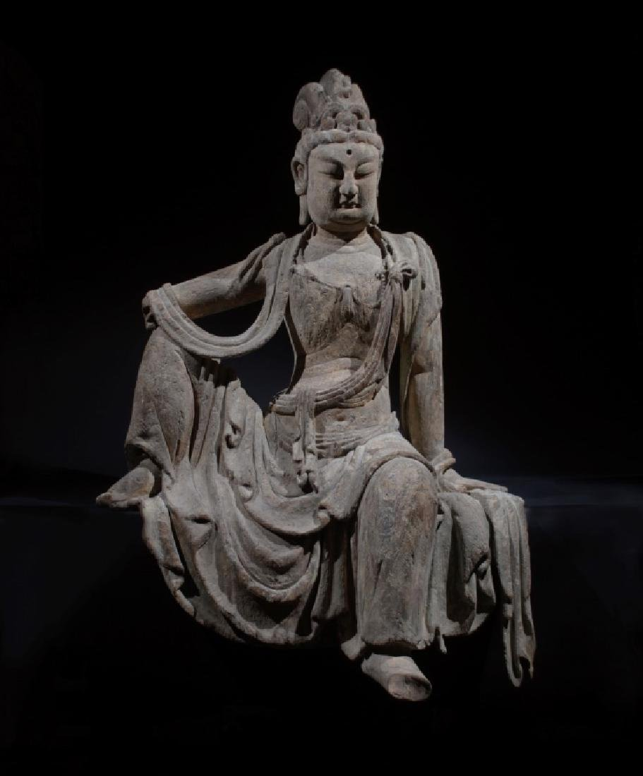 Large Chinese Seated Carved Wood Guanyin