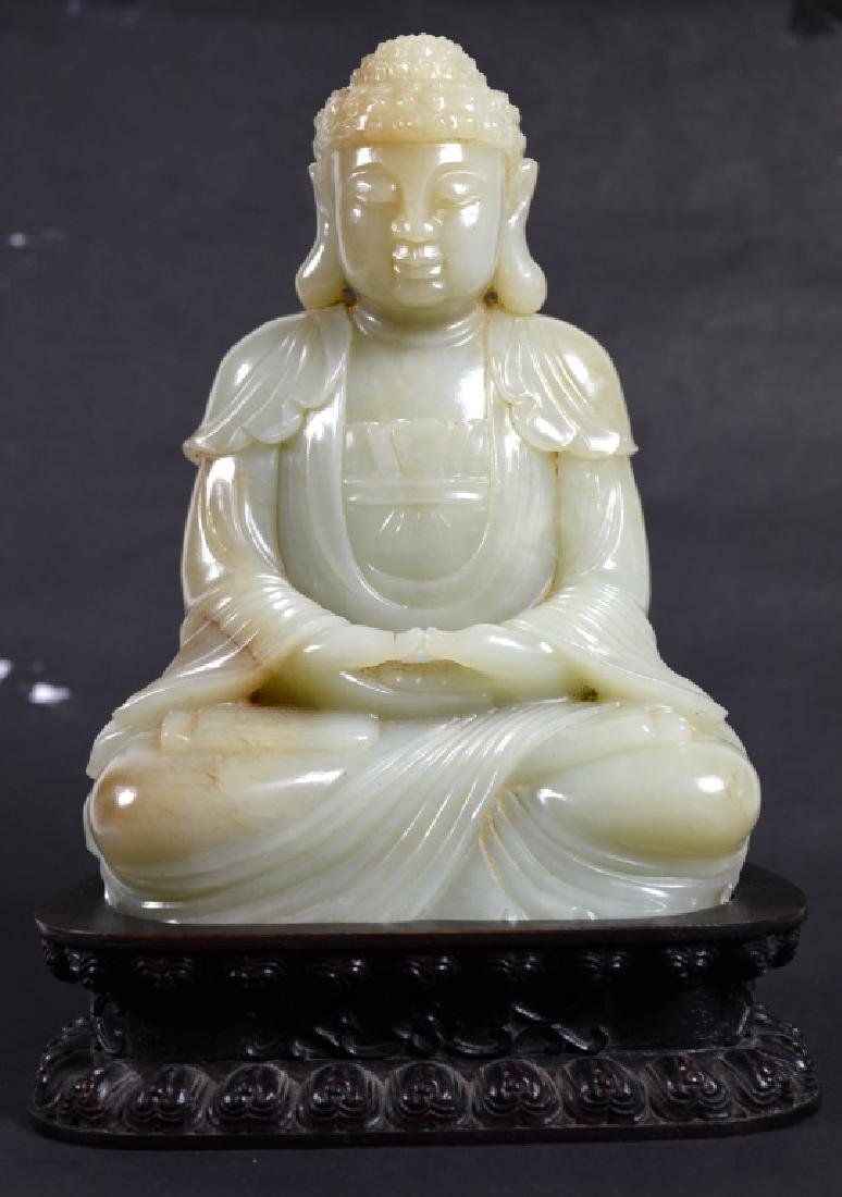 Fine Chinese Seated Carved Jade Buddha & Stand