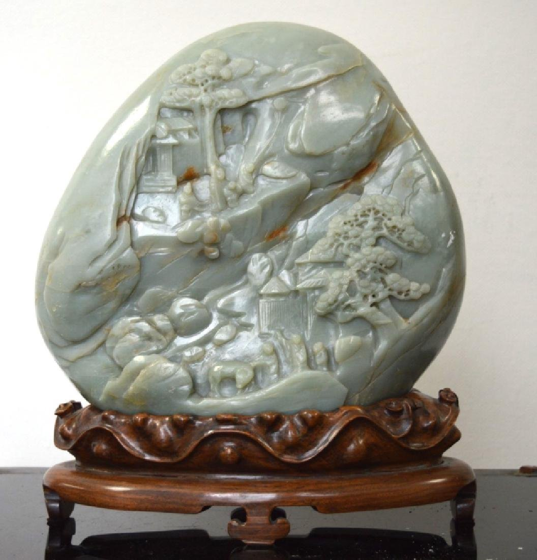 Lg Chinese Well Carved Jade Boulder Mountain