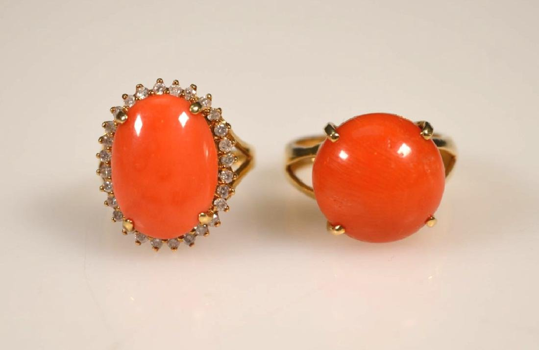 2 Coral Cabochons in 14K Yellow Gold Rings
