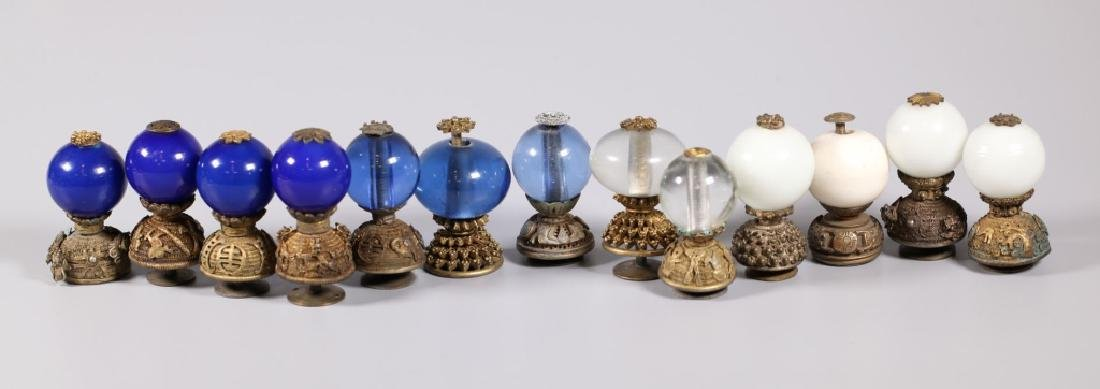 13 Chinese Qing Dynasty Rank Hat Balls & Stands