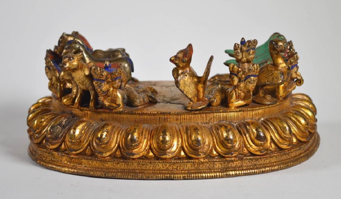 Antique Tibetan Gilt Bronze Large Lotus Base