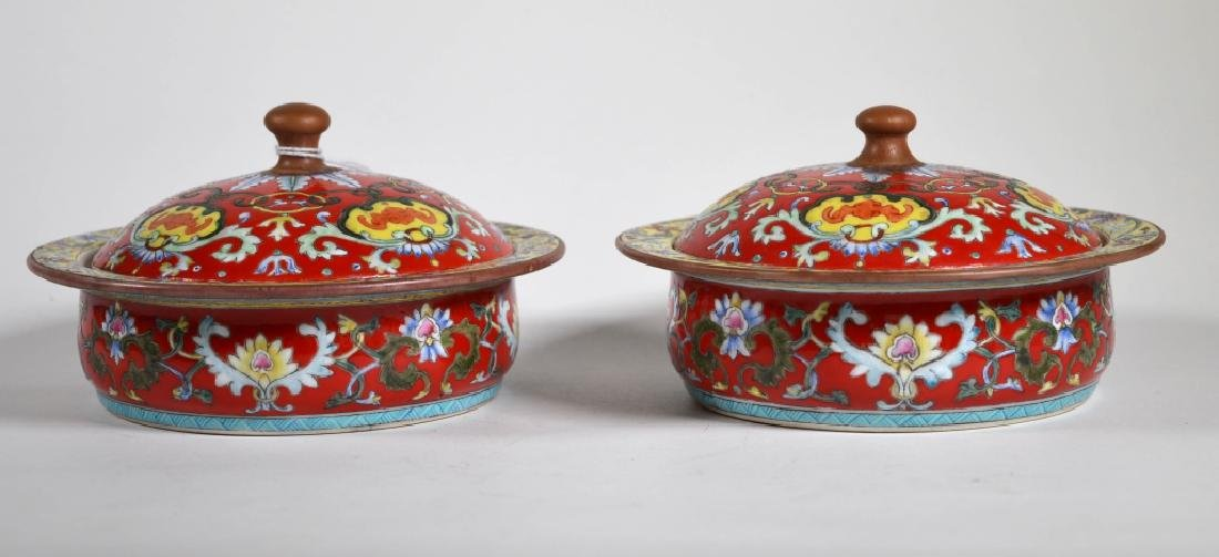Pr. Chinese Enameled Porcelain Covered Servers