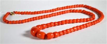 Good Antique Dark Coral Bead Necklace 110G