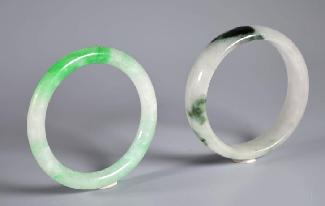 Two Chinese Jadeite Bangles