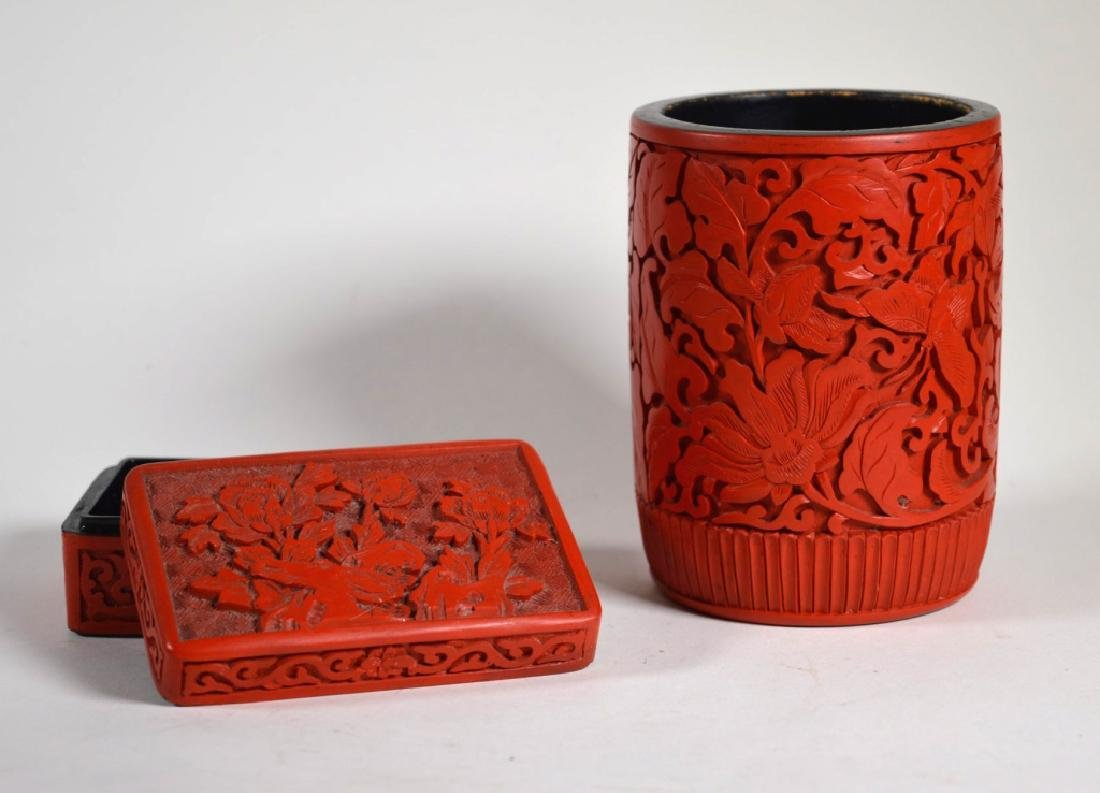 Chinese Carved Cinnabar Lacquer Brush Pot & Box
