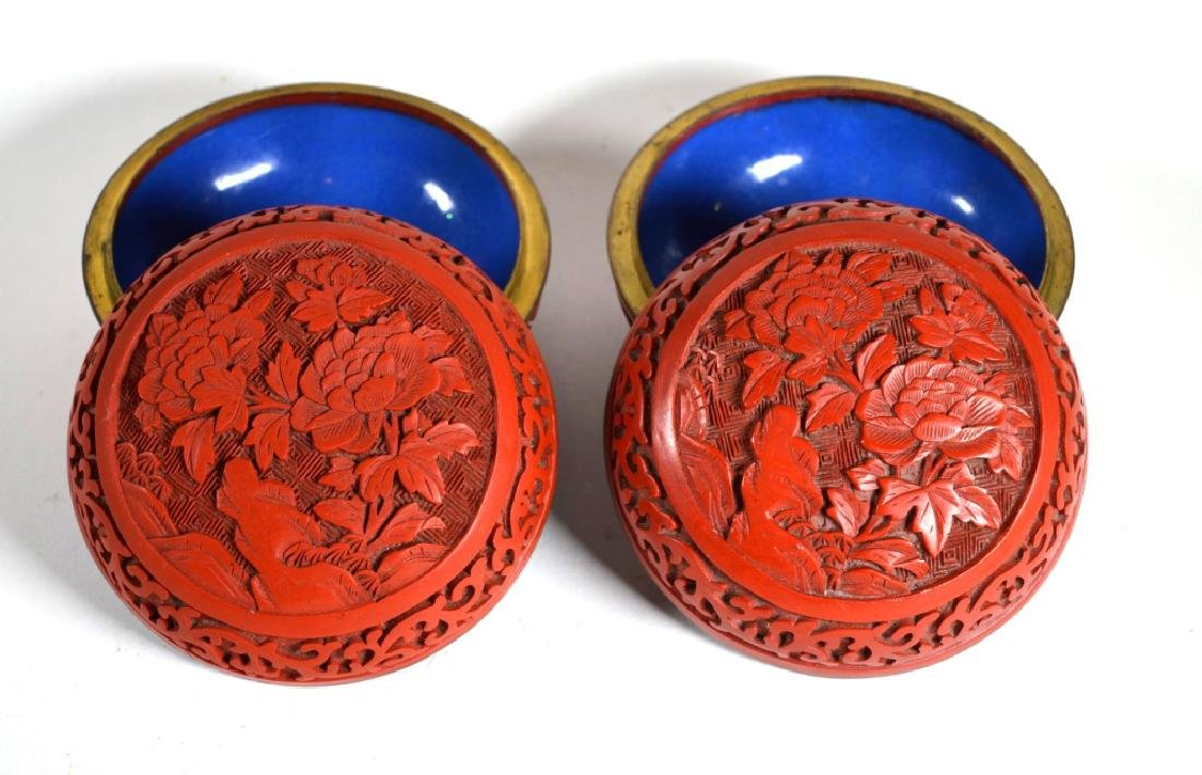 Pair Chinese Cinnabar Lacquer over Enamel Boxes