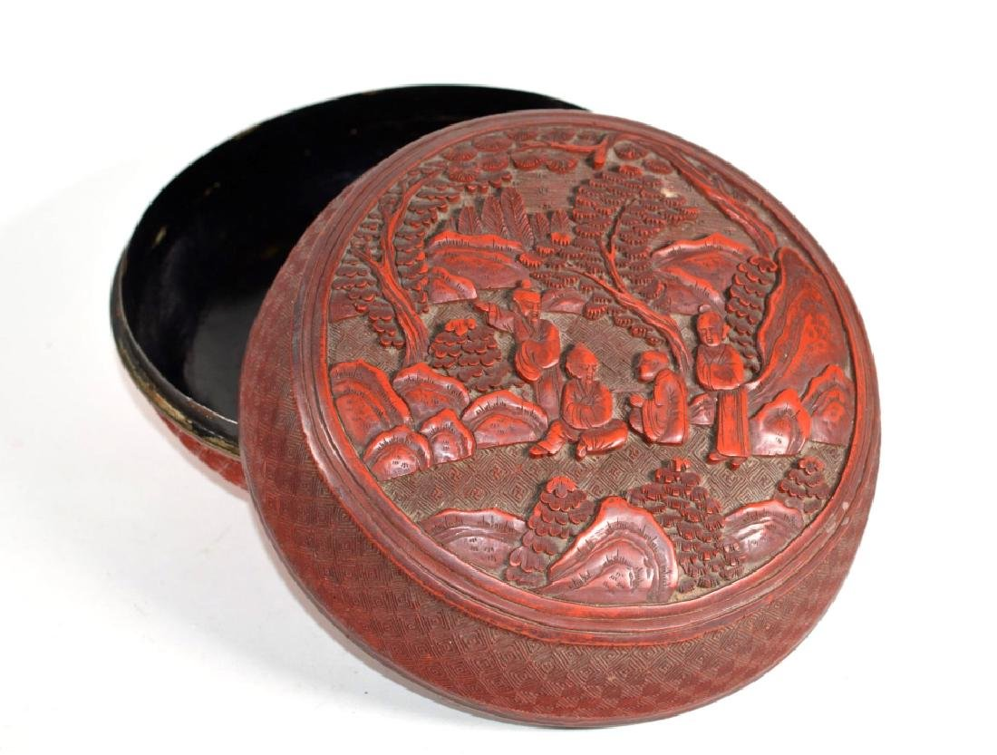 Chinese 19 C Carved Cinnabar Lacquer Round Box