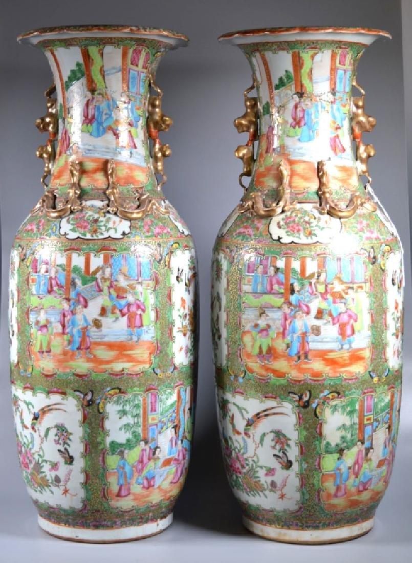 Pr Lg 19 C Chinese Rose Medallion Porcelain Vases