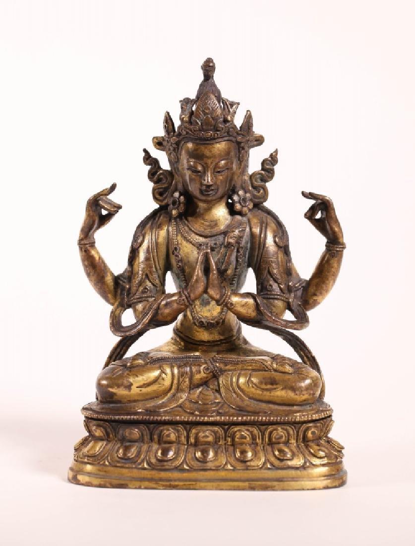 Tibetan 19 C Gilt Bronze Seated Four Armed Guanyin