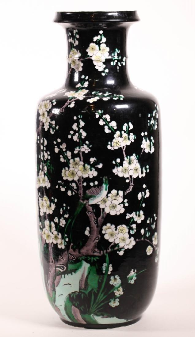 Chinese Qing Famille Noire Enameled Porcelain Vase