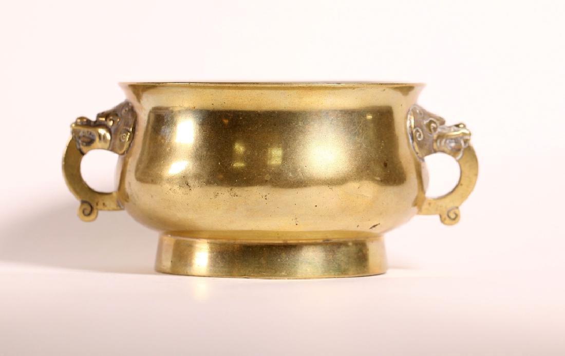 Chinese 18/19 C Bronze Censer w Lion Handles