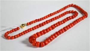 Dark Coral Bead Necklace: 18K Closure; 59.1G