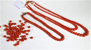 Group Dark Coral Beads Total 102G