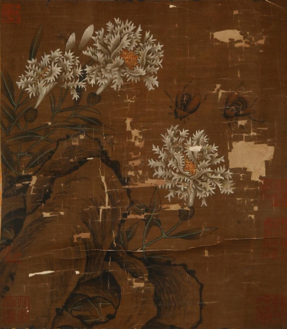 Antique Chinese Painting on Silk of Flowers