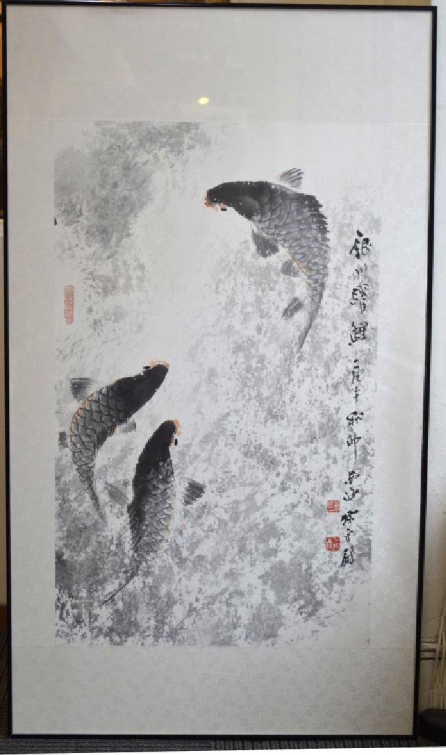 Chinese Ink & Color Carp Painting on Paper