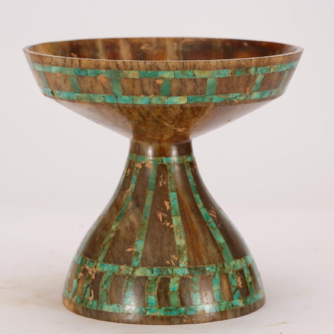 Chinese Jade Cup on High Foot; Turquoise Inlay