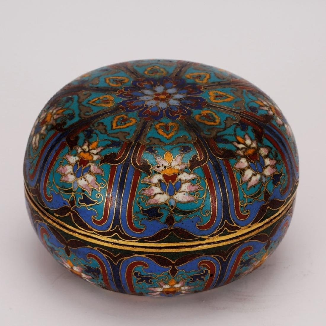 Chinese Cloisonne & Gilt Bronze Round Box & Cover