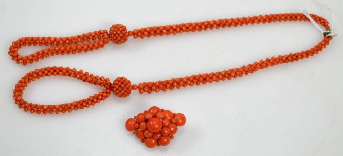 Woven Antique Coral Bead Necklace, Removable Pin
