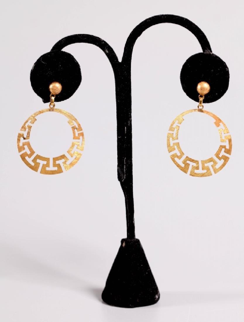 Pr 18K Gold Hoop Earrings, Polished, Florentine