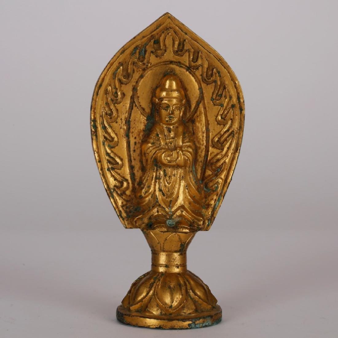 Chinese Small Gilt Bronze Buddha on Stem Base