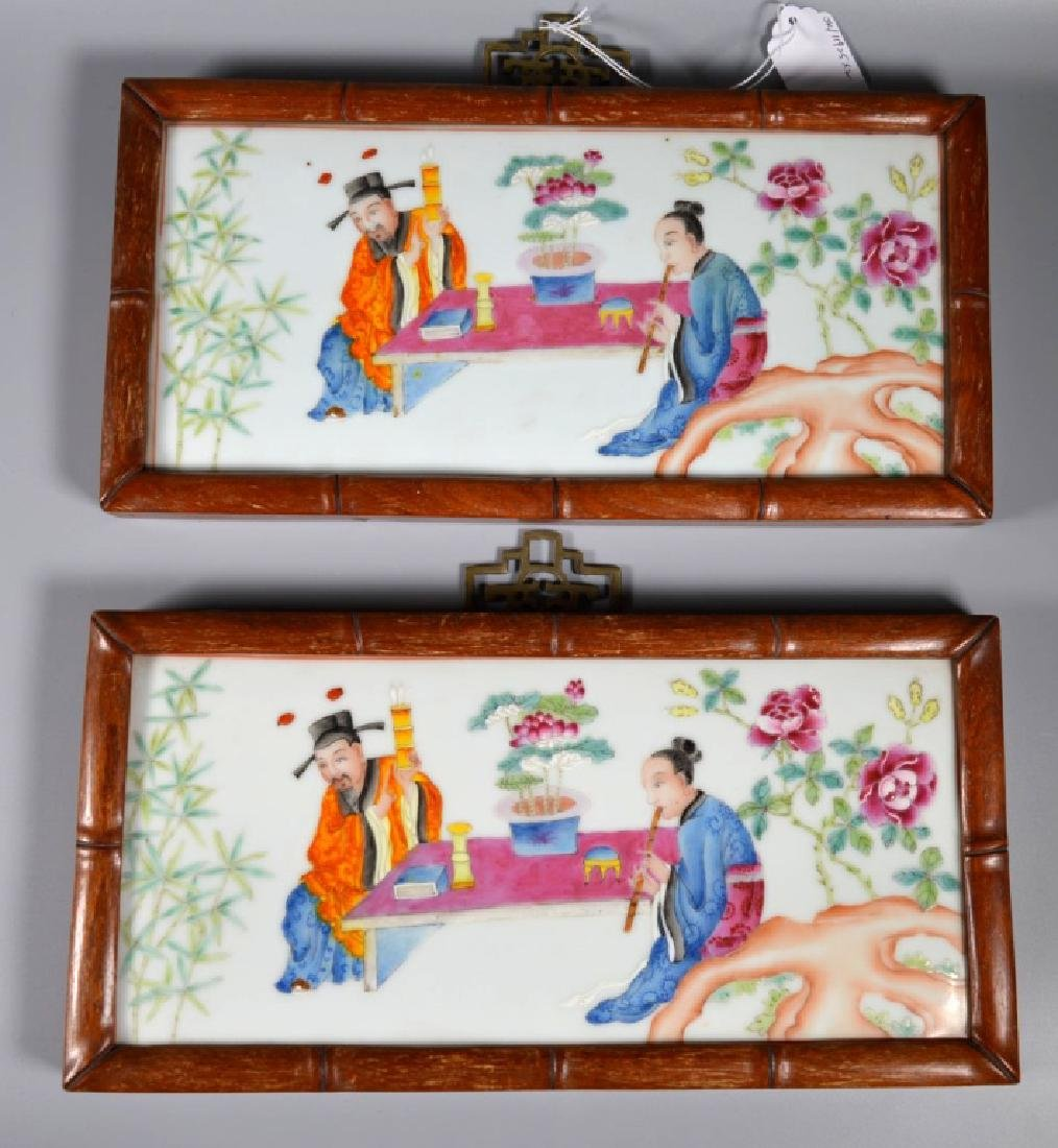 Two Chinese Enameled Porcelain Figural Plaques