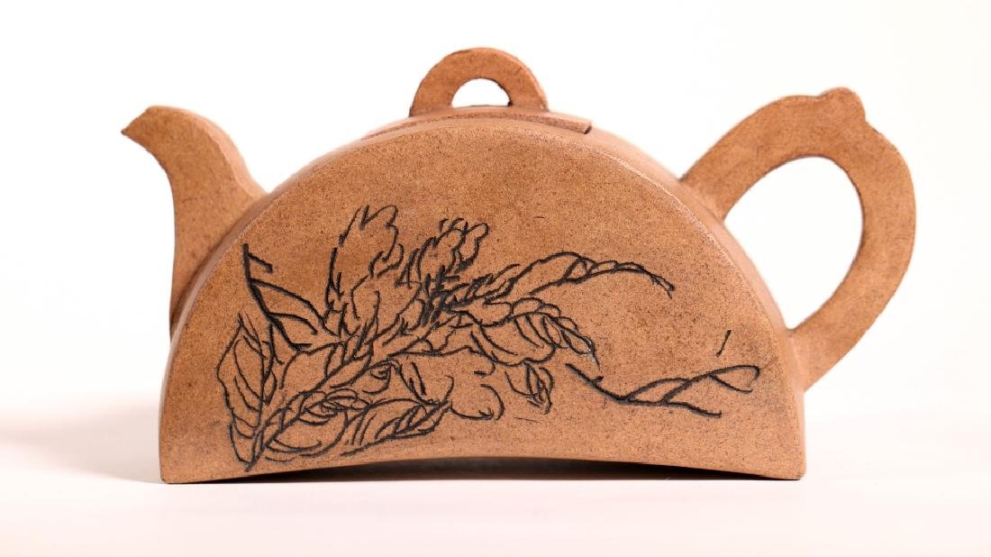 Chinese Ligh Clay Yixing Half-Moon Shaped Teapot