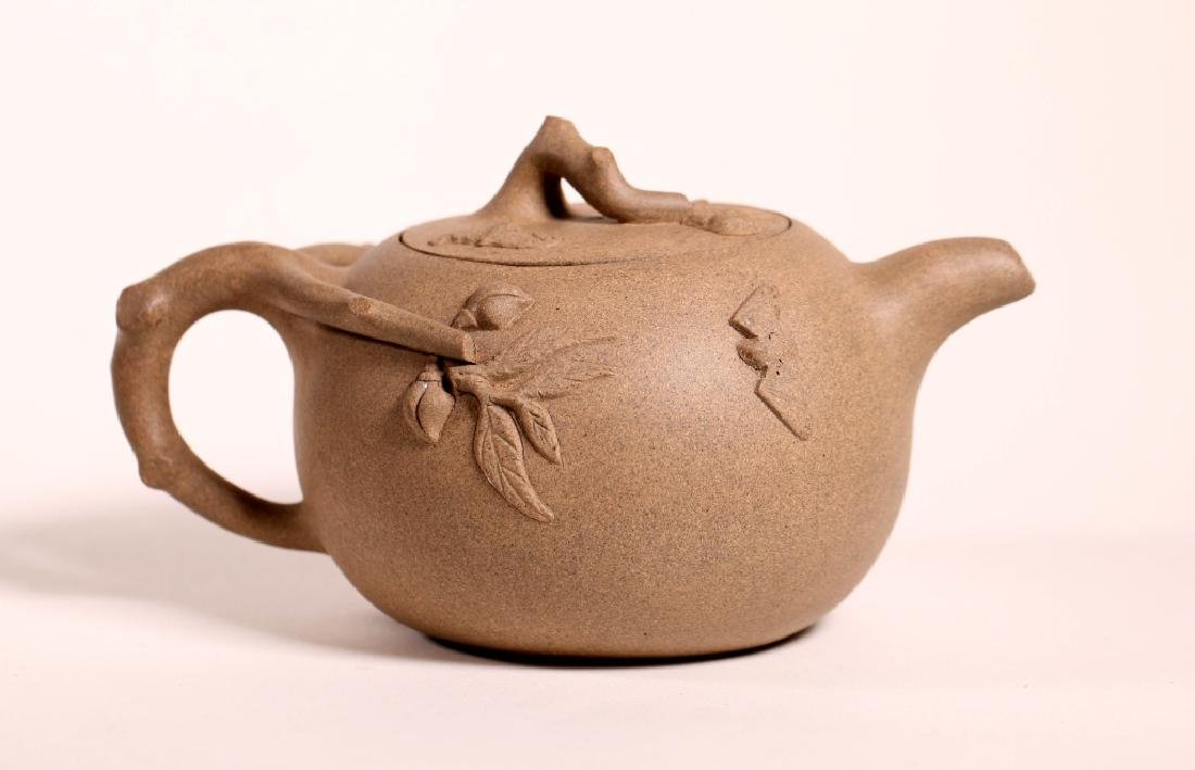 Chinese Ligh Clay Yixing Peach-Shaped Teapot