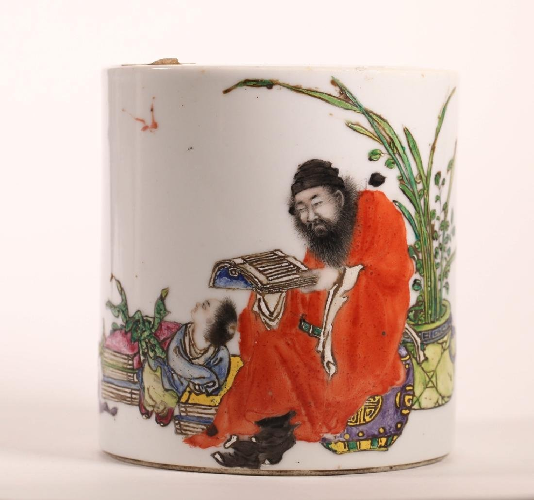 Chinese Republic Artist Painted Porcelain Bitong