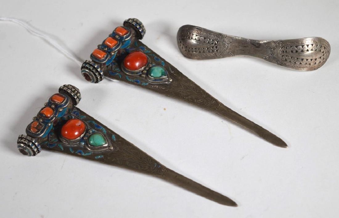 Chinese 19 C 3 Hair Pins; Coral & Silver; 114.5G