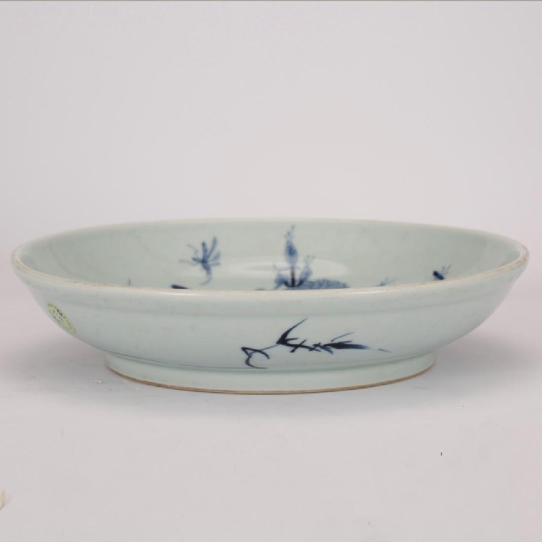 Chinese Blue & White Porcelain Bird & Lotus Plate