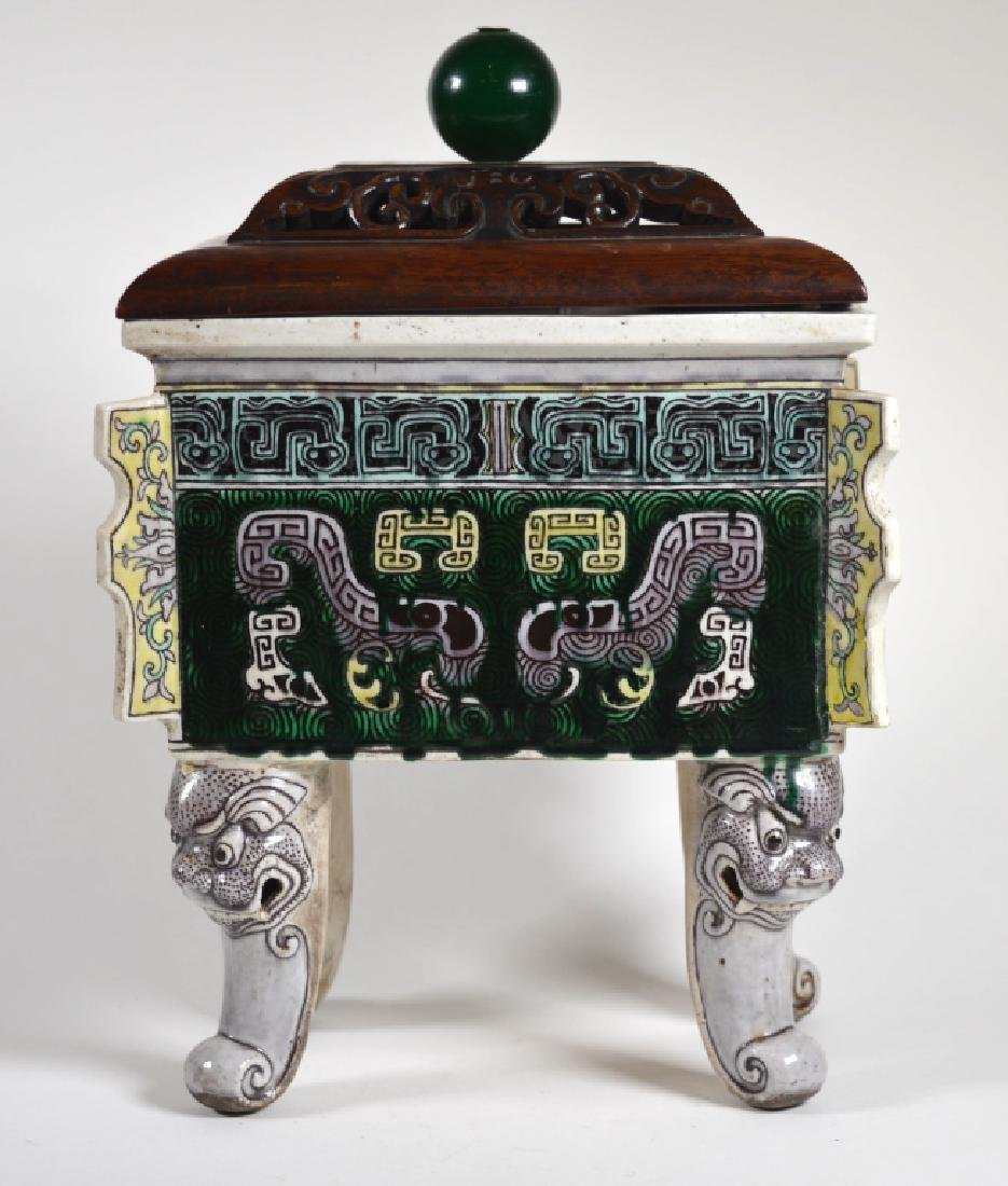 Chinese 19 C FamilleVerte Biscuit Fang-Ding Censer