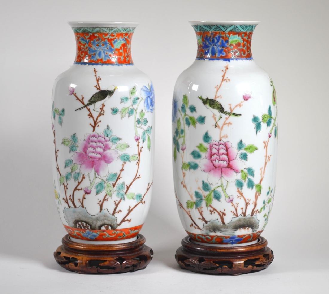 Mirror Pr Chinese Famille Rose Porcelain Vases