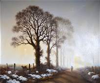 Gerald Coulson Frosty Morning Signed Oil Canvas