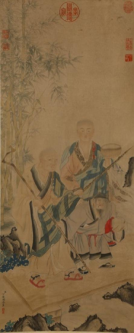 Antique Chinese 2 Lohan & Scholar Painting on Silk