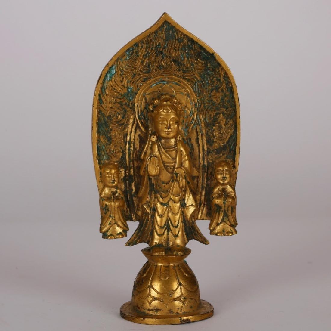 Chinese Small Gilt Bronze Buddha, Mandorla