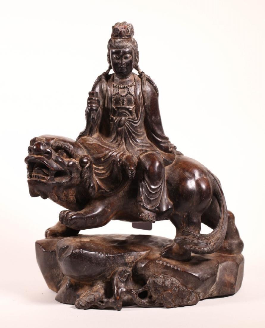 Chinese Carved, Polished Hardwood Buddha on Lion
