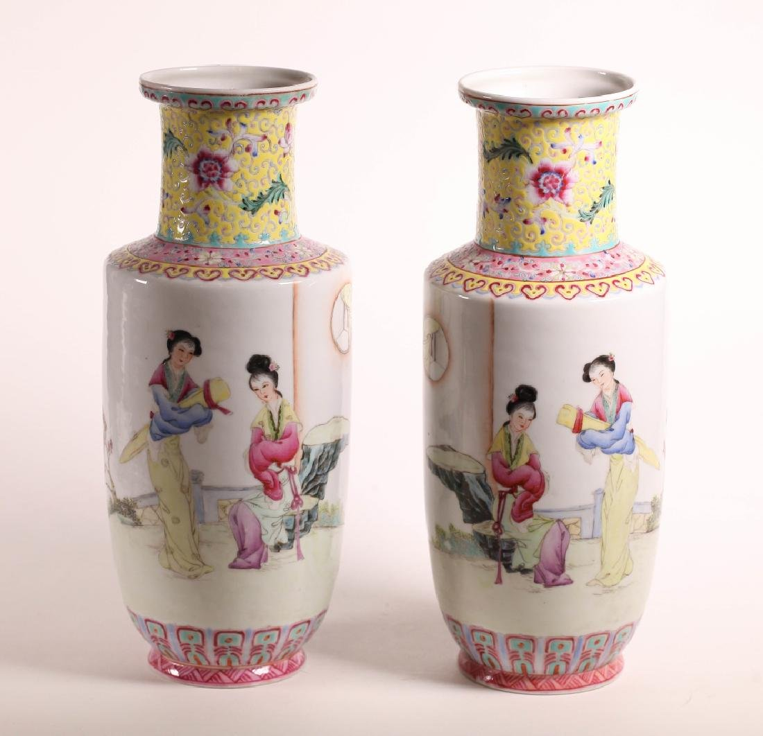 Opposing Pr Chinese Enameled Porcelain Vases