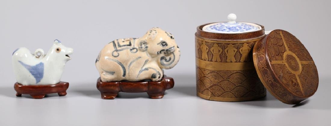 Rare Vietnamese Elephant Water Pot; 2 Asian Pots