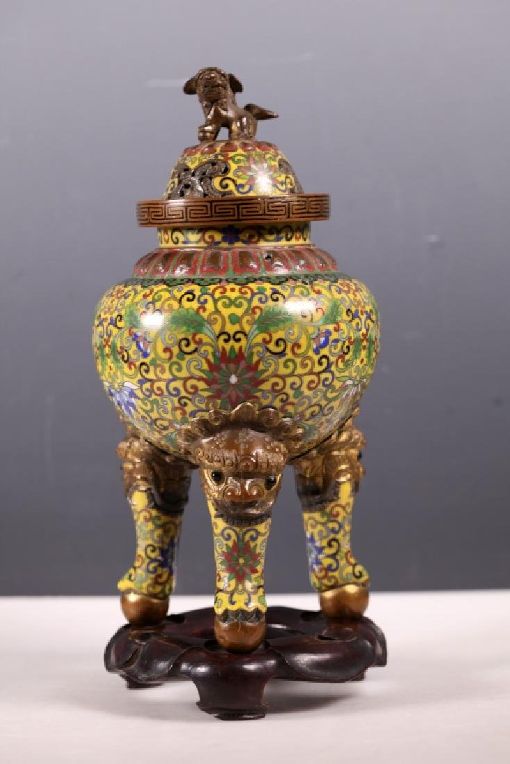 Chinese Cloisonne on Bronze Censer