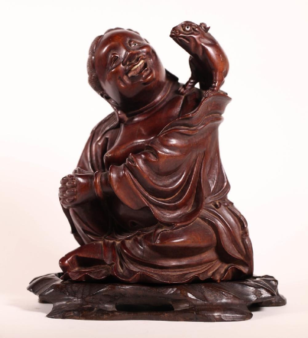 Chinese Qing Carved Hardwood Liuhai & Toad