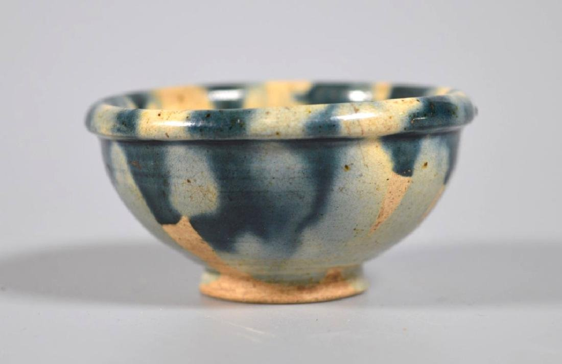 Chinese Tang Style Blue Sancai Glazed Wine Cup