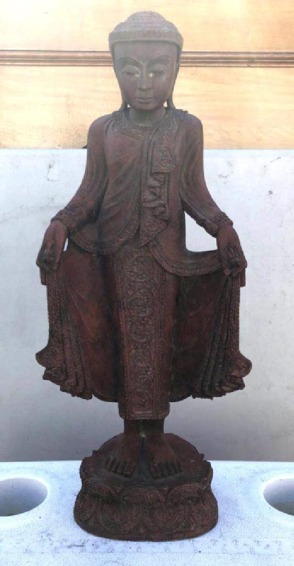 Antique Asian Wood Buddha on Base