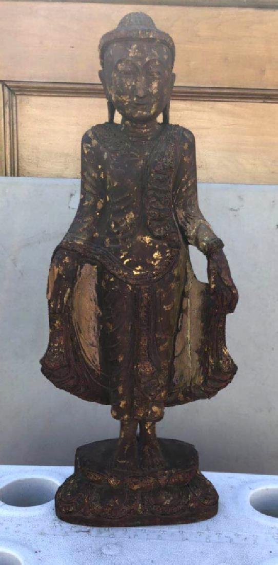 Asian Antique Wood Standing Buddha on Base