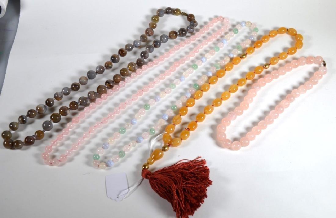 Five Bead Necklaces; 2 Agate, 2 Pink Quartz