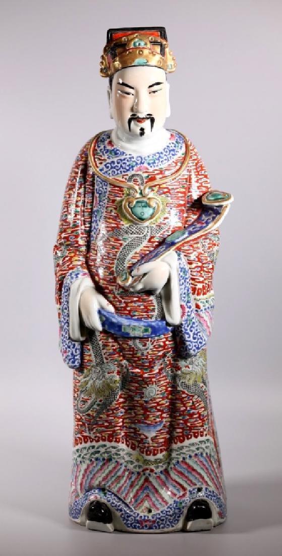 Large Chinese Enameled Porcelain Luxing Figure