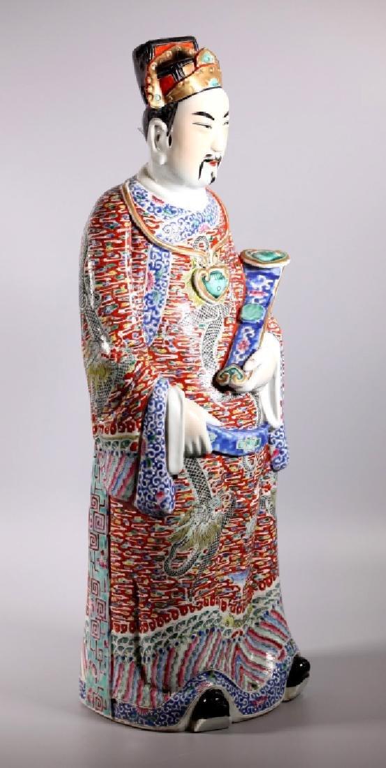Large Chinese Enameled Porcelain Luxing Figure - 2